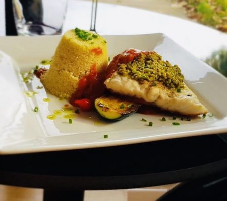 Pan fried cod with tapenade crumb